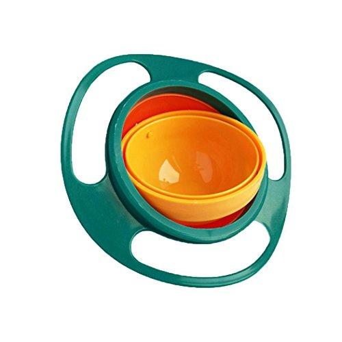 Dozenla Portable 360 Rotation Baby Kids Training Feeding Bowls No Spill Gyro BowlsMaterial: Food Grade PP (Green)