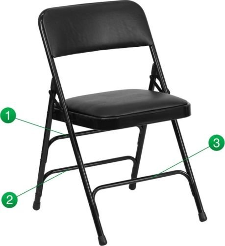 (4 PACK) Heavy Duty Triple Braced & Quad Hinged Black Vinyl Metal Folding Chair by Flash Furniture