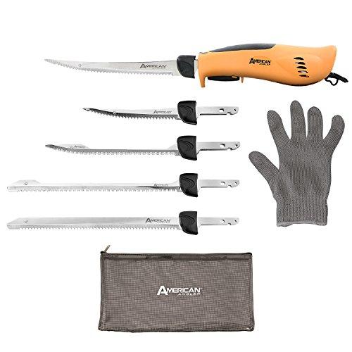 American Angler PRO Professional Grade Electric Fillet Knife Sportsmen's Kit - 110 Volt High Performance Ergonomic Motorized Handset with Five Kinds of Stainless Steel Blades, 32352DS