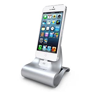 Konnet Technology KN-8267 iCrado Plus - Metal / Metallic Charging / Charger Dock / Cradle / Stand / Kit with Charge and Sync Cable for iPhone 4S, 4, 3Gs, 3G and iPod Touch, Nano - 1 Pack - Reatil Packaging - Silver