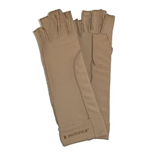 totes ISOTONER Therapeutic Compression Fingerless Gloves (Pack of 2), Small, Tan