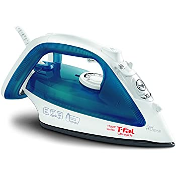 T-fal FV4017 Ultraglide Non-Stick and Scratch Resistant Durilium Ceramic Soleplate Steam Iron with Anti-Drip and Auto-off System, 1700W, Blue