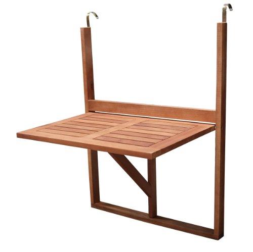 Balkonhängetisch 60x40cm klappbar, Eukalyptusholz, FSC®-zertifiziert