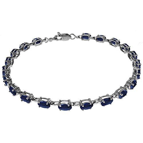 ALARRI 8 CTW 14K Solid White Gold Tennis Bracelet Natural Sapphire Size 8 Inch Length by ALARRI