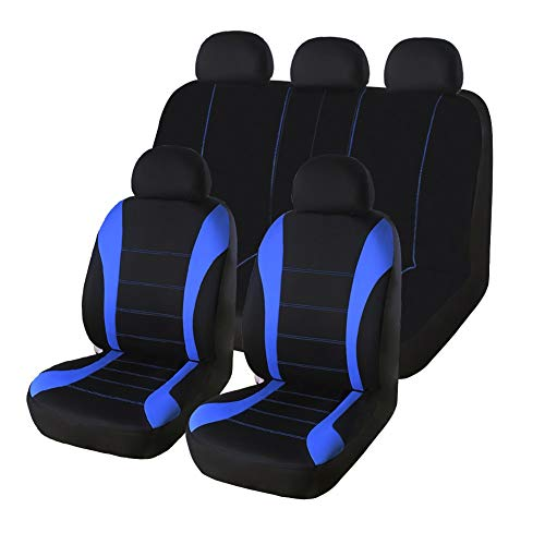 AUTO HIGH Car Seat Covers Full Set - Breathable Mesh Cloth Automotive Front and Back Seat Protect Covers - Fits Most Car Truck Van SUV, Blue & Black
