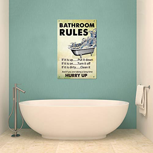 Agantree art Rustic Bathroom Rules Metal Sign Decorative Plaque 12 x 8 Inch