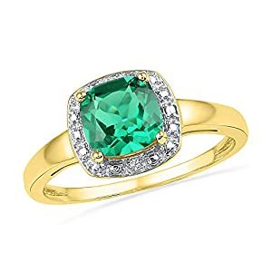 Size - 8 - Solid 10k Yellow Gold Cushion Round Green Simulated Emerald And White Diamond Engagement Ring OR Fashion Band Prong Set Solitaire Shaped Halo Ring (.01 cttw)
