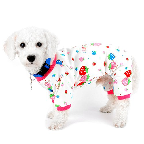 SELMAI Pajamas for Small Dogs Cats Fleece Lined Strawberry Puppy Doggie Indoor Outfits Jumpsuit Winter Yorkie Chihuahua Clothes Apparel M