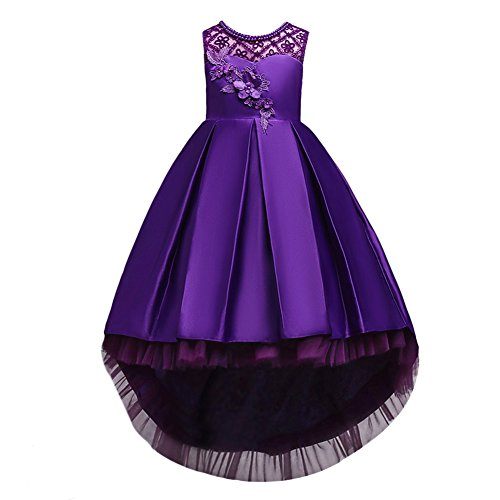 (Little/Big Girls Vintage Beaded Party Pageant Princess Wedding Bridesmaid Evening Flower Maxi High Low 7-16 Purple 5-6 Years)