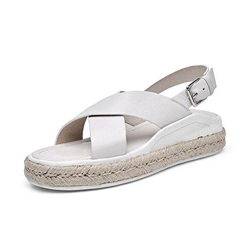 sandalias abiertas corteza gruesa muffin de mujeres calza los zapatos de cáñamo salvaje playa A