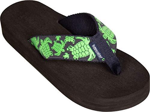 Tidewater Women's Green Turtle Sandals Navy/Green 8 & Sunlotion Spray Bundle ()