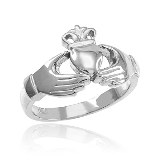 Classic 10k White Gold Irish Heart Claddagh Wedding Engagement Ring, Size 5