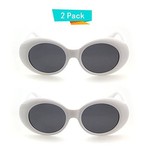 Bold Retro Oval Mod Thick Frame Sunglasses Clout Goggles with Round Lens (2 packs White, - Glasses Womens Cheap Frames