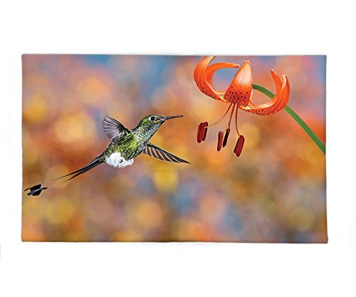 Interestlee Fleece Throw Blanket Hummingbirds Decorations The Booted Racket-Tail Feeding Nectar from Tiger Lily Blur Background Photo Orange - Nectar Green Ohio