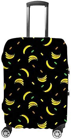 スーツケースカバー 伸縮素材 トランク カバー 洗える 汚れ防止 キズ保護 盗難防止 キャリーカバー おしゃれ バナナ柄 ポリエステル 海外旅行 見つけやすい 着脱簡単 1枚入り