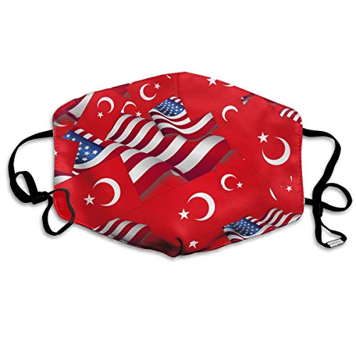 KUYTZDCUTE Turkey Flag with America Flag Mouth Mask Dust Face Mask Washed Reusable Outdoor Activities Windproof 7 X 4.3 Inch.]()