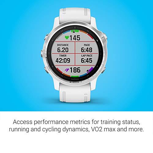 Garmin Fenix 6S, reloj GPS multideporte definitivo, tamaño más pequeño, ajuste de calor y altitud V02 Max, sensores de pulso y foco de carga de ...