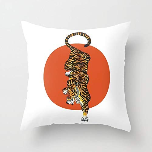 Personalized Throw Pillow Cover Cotton Decorative Pillow Case Cover Home Sofa Cushion Cover Square Design 18×18 inch/45x45cm – The Traditional Tiger Mes