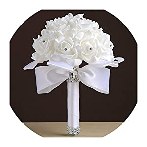 Cheapest PE Rose Bridesmaid Wedding Foam Flowers Rose Bridal Bouquet Ribbon Fake Wedding Bouquet de Noiva 9 Color S30,White 80