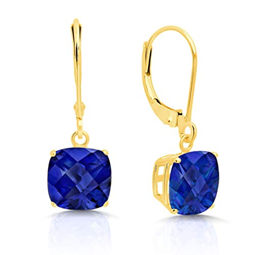 14k Yellow Gold Created Sapphire Dangle Leverback Earrings (8mm)