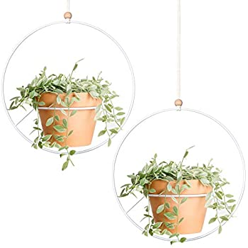 Mkono 2 Pcs Metal Round Hanging Planter Modern Plant Hangers Mid Century Flower Pot Holder Home Decor, Fits 6 Inch Pot (Pot NOT Included)
