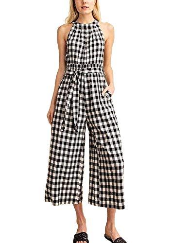 Avvio Women's Black & White Gingham Print Cotton Jumpsuit (Large) (& Gingham Black White)