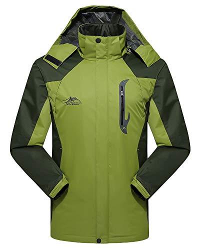 amp; Men Waterproof Green Pockets Womens Sleeve Light Mens Hood with Jacket Long Softshell Unisex AnyuA XFqv7x
