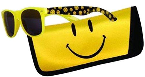 Sunglasses with Coordinating Soft Sunglass Case (Smiley Face, - Sunglasses Faces With Smiley