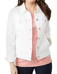 Women's Plus Size Classic Button Down Stretch Denim Jacket Coats