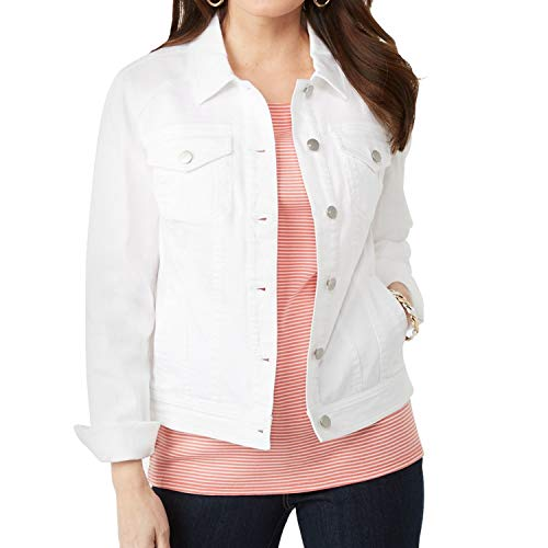 - Symbidium Women's Plus Size Classic Button Down Stretch Denim Jacket Coats White 1X