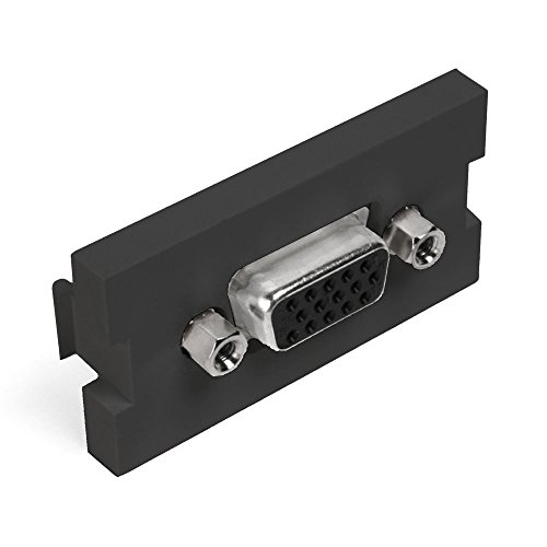Leviton 41293-HDE 1 Unit High MOS HD15 Video Connector Feedthrough, Black ()