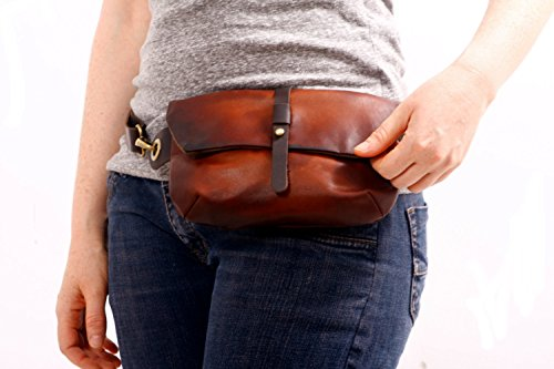 LEATHER Hip Bag - Fanny Pack - Traveler Bag - Utility Hip Belt - Hip Pouch by Ruth Kraus