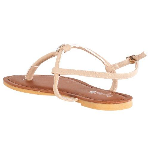 Bamboe Vrouwen Morris Strass-verfraaid T-strap Sandalen Naturel