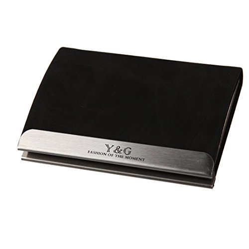 Y&G YDC04A01 Black Leather PU Classic Mens Name Card ID Case Great Gift Ideas ()