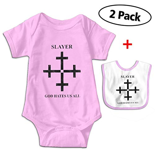 Slayer God Hates Us All Disciple Print Baby Boys & Girls Short Sleeve Romper Jumpsuit Bodysuit Playsuit Outfits (with Bibs) Pink ()