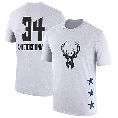 S-3XL NBA T-shirt All-Star Milwaukee Bucks Giannis Antetokounmpo T-Shirt Print Letter Jersey