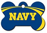 Personalized Laser Engraved 1.5 x 1 inch U.S. Naval Academy Midshipmen Bone Shape Pet ID Tag - Free Tag Silencer