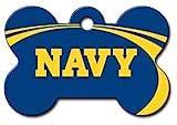 Personalized Laser Engraved 1.5 x 1 inch U.S. Naval Academy Midshipmen Bone Shape Pet ID Tag - Free Tag Silencer