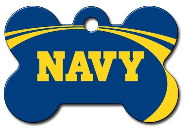DogIDS Personalized Laser Engraved 1.5 x 1 inch U.S. Naval Academy Midshipmen Bone Shape Pet ID Tag Free Tag Silencer