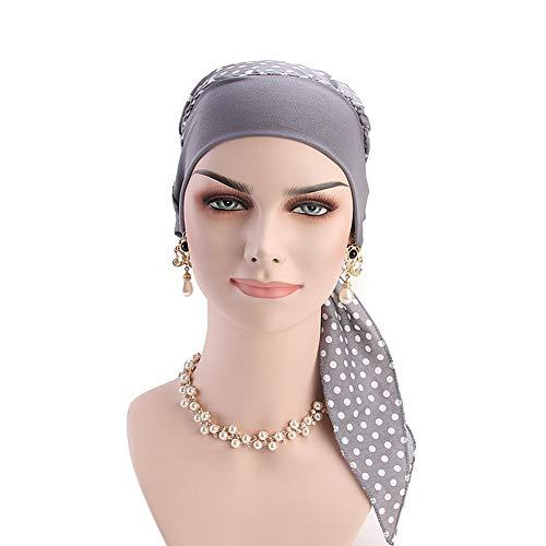 Vintage Women Elastic Wide Band Head Scarf Cotton Turbans Dot Print Bonnet Multifunction Night Sleep Hat Chemo Hair Loss Wrap Cap (Grey) ()