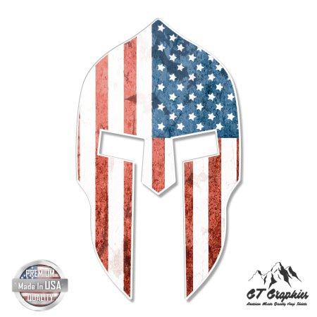 Spartan Helmet American Flag Grunge - 3