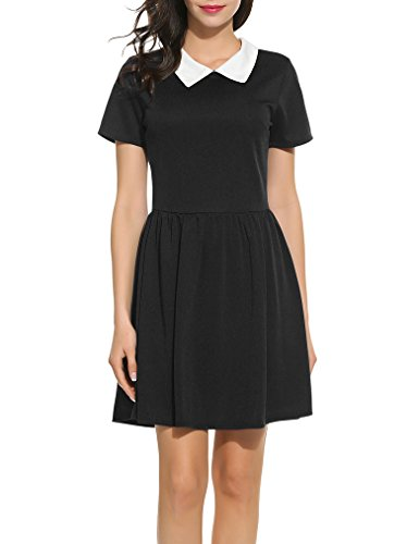 Womens Peter Pan Costume Pattern (Ladies Black Peter Pan Collar Fit and Flare Skater Dress Black M)