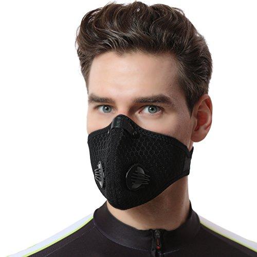 Escursionismo Nero Zeerkeer Maschera Antipolvere Maschera Respiratore Filtrazione Gas di Scarico Antipolline PM2.5,Polvere,Sostanze Chimiche,Vapori e Particelle per Corsa,Ciclismo ecc sci