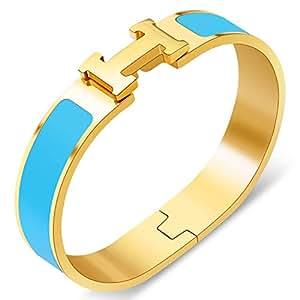 Yeemer Colorful Buckle Bracelet Bangle Women, Couple, Girls, Mom Teens (Gold& Sky Blue Color)