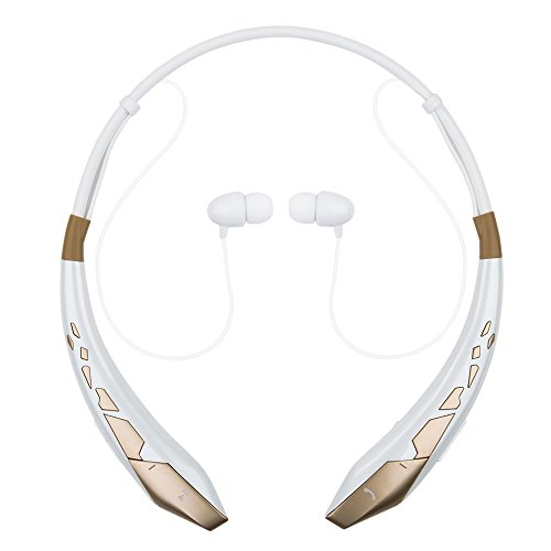Bluetooth Headset Pianogic HB-904 V4.0 Stereo In-ear Noise Cancelling Music Sport Bluetooth Headphones Magnet Attract Earbuds and Call in Vibration Reminder(White-Gold)