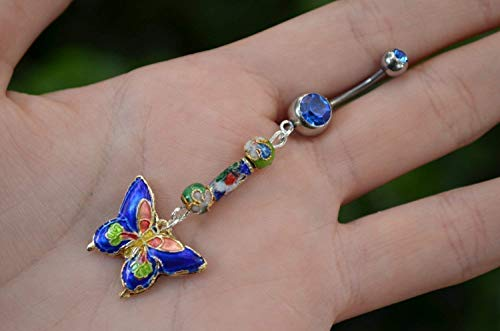 (Fantasy Butterfly Belly Button Ring Blue Cloisonne )