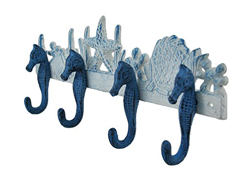 Zeckos Cast Iron Decorative Wall Hooks Blue And White Seahorses Sea Life Cast Iron Wall Hook 15.25 X 6 X 2.25 Inches Blue