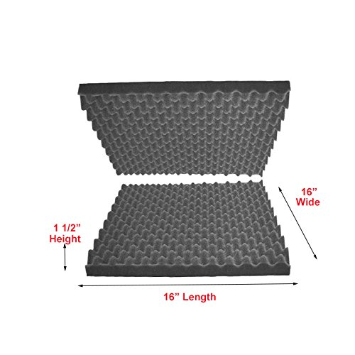 "2""x16""x16"" Polyurethane Charcoal Convoluted Foam Packing Foam Set"