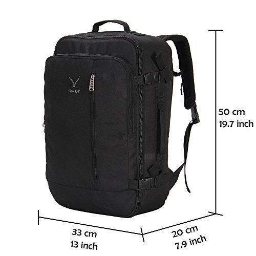 Hynes Eagle 38L Flight Approved Weekender Carry on Backpack, Black