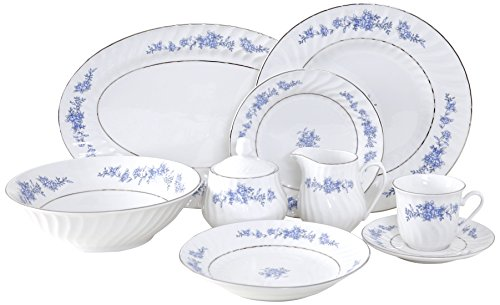 Ciera Royal Rose 45-Piece Dinner Set with Gold Trim; Vintage Floral